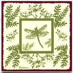 Dragon Fly Botanical design as a tile, trivet, or wall plaque. Can be used in a kitchen backsplash or bathroom tile.