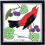 Scarlet Tanager Tile,Scarlet Tanager Wall Plaque,Scarlet Tanager Trivet
