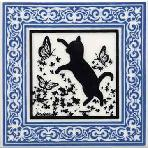 Hand Painted Art Tile showing Kitten with Butterflies in a Victorian Border. Cat Tiles