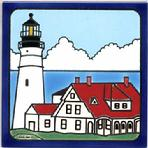 Lighthouse Tile Wall Plaque, Hand Painted Nautical Tiles, Trivets by Besheer Art Tile, Portland Head Lighthouse