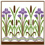 Hand Painted Art Tile with Victorian Iris