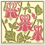 "Grasset Columbine Tile. Besheer Art Tile has created a series of tiles for the Museum of Fine Arts Boston that is inspired by images from a book in their collection: Plants and their Application to Ornament, published in London in 1897 by Eugene Samuel Grasset, has unique floral designs, each one based on a specific flower. These tiles are hand made in New Hampshire. The ceramic tile, which is heat resistant, can be used as a trivet or hotplate, as well as hung for wall decor. 6"" x 6"", Cork backed. Wipe clean."
