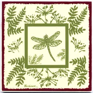 Dragon Fly Botanical design as tile art, trivet, or wall plaque. Can be used in a kitchen backsplash or bathroom tile.